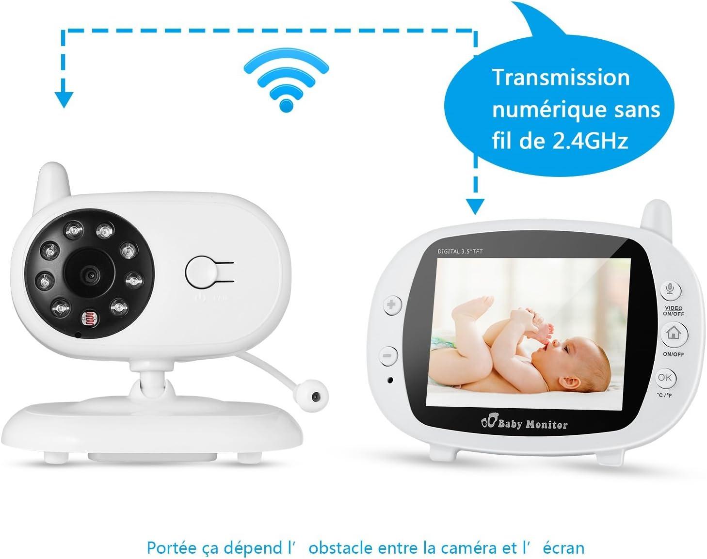 Vigilabebes con Camara, Bebé Monitor Inalambrico con 3,5