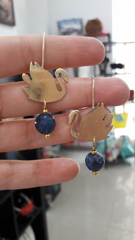 Handgefertigte Ohrringe Schwan aus Messing mit Halbedelstein Lapis Lazuli