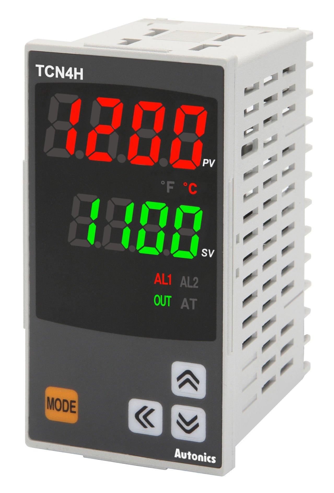 Autonics TCN4H-24R Temp Control, 1/8DIN, Dual display 4 Digit, PID Control, Relay & SSR Output, 2 Alarm Output, 100-240 VAC