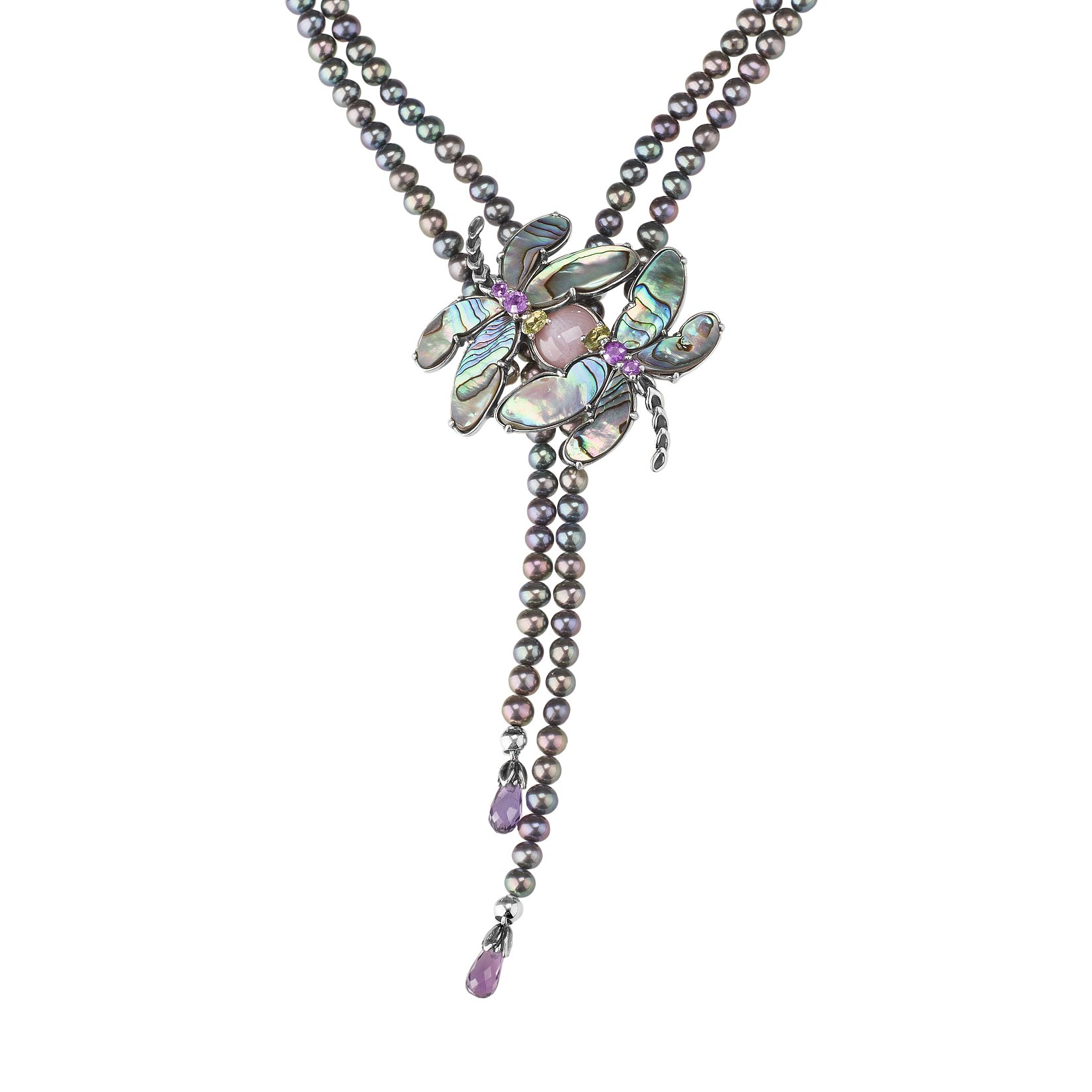 Carolyn Pollack Sterling Silver - Abalone, Amethyst, Peridot Dragonfly on a Peacock Pearl Bead Necklace