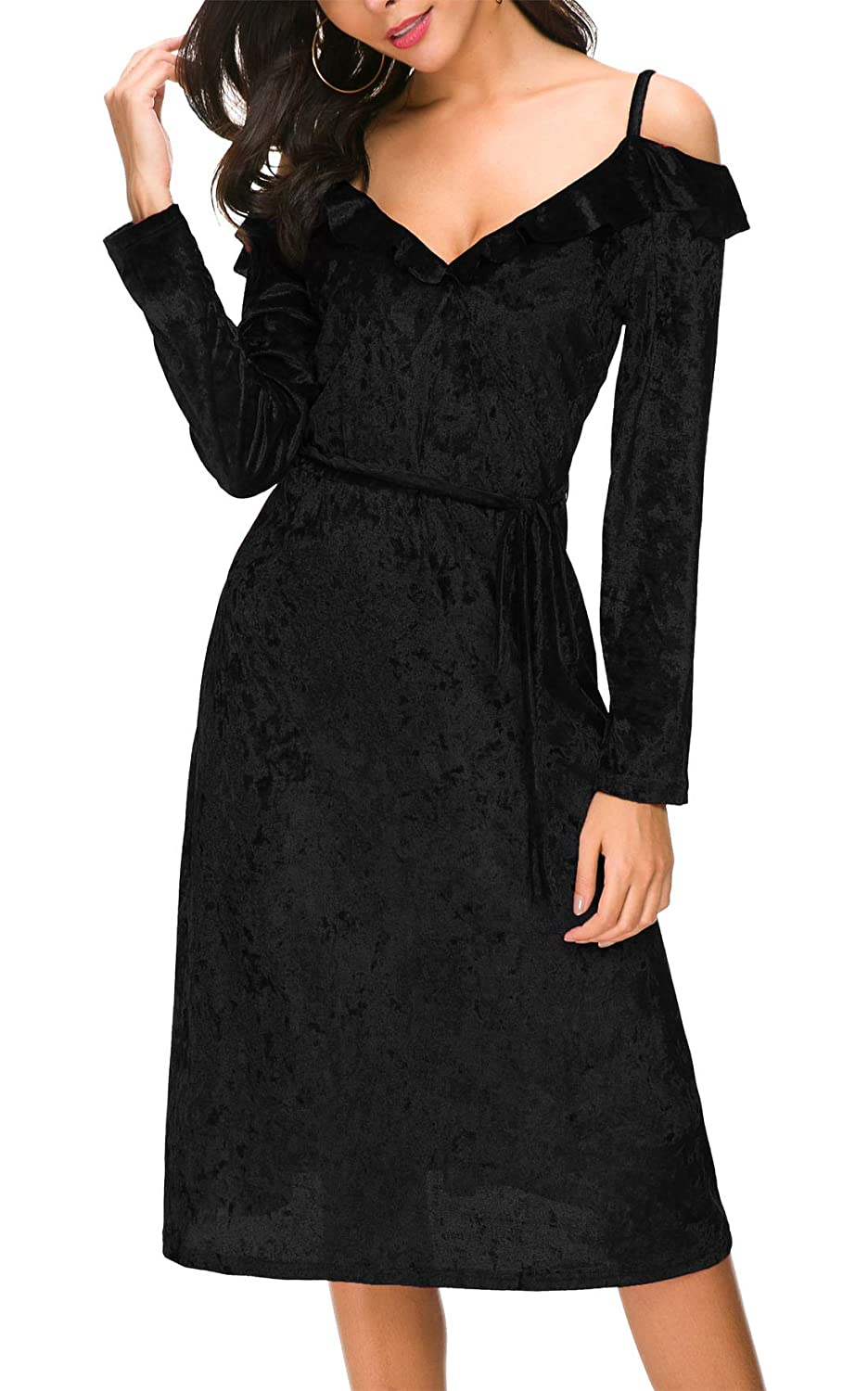 DGMYG Women s V Neck Velvet Strap Dress Long Sleeve A line Midi Cocktail  Party Dresses at Amazon Women s Clothing store  8b9a484f8