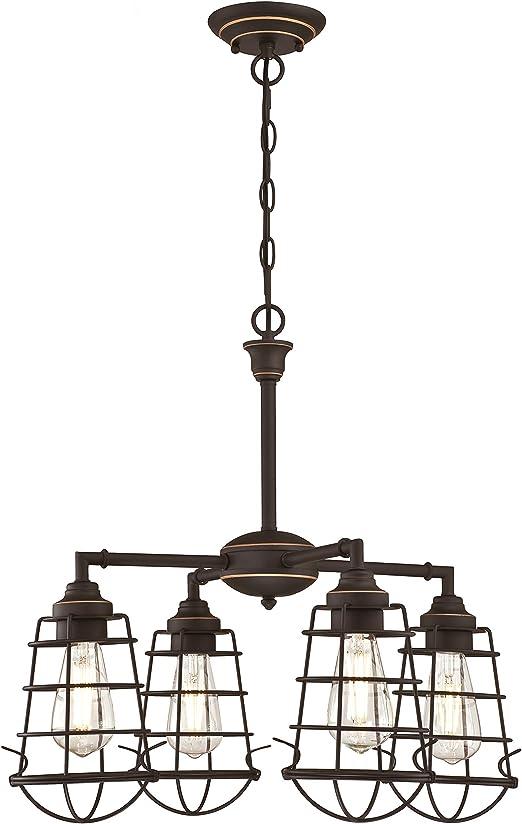63670 Nolan – Vierflammiger Leuchter von Westinghouse Lighting für Innen, Ausführung in geölter Bronze mit Akzenten und käfigförmigen Lampenschirmen
