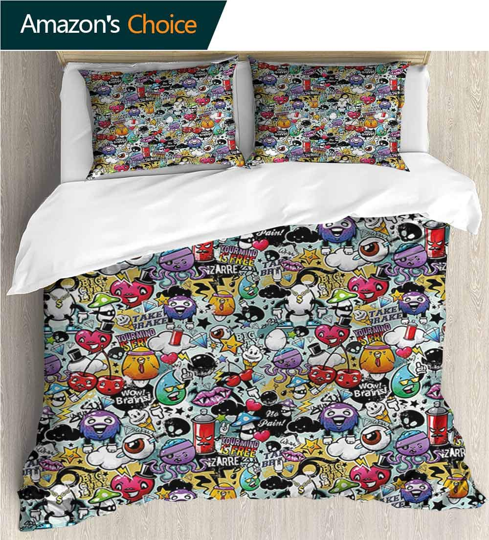 Bedspread Set Queen Size,Box Stitched,Soft,Breathable,Hypoallergenic,Fade Resistant Print,Decorative Quilted 2 Piece Coverlet Set With 2 Pillow Shams-Cartoon Grafitti Creatures Spray (87''W x 95''L)