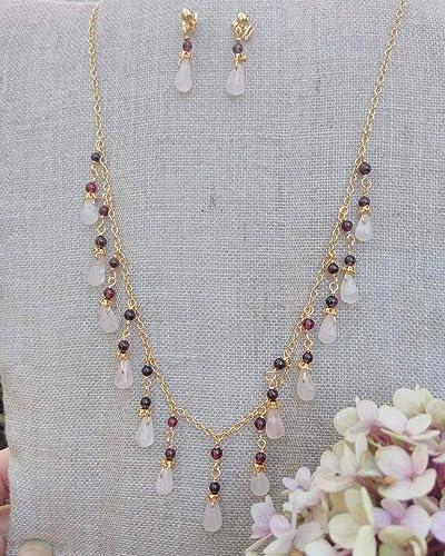 Handcrafted Rose Quartz and Garnet Gemstone Gold Plated Pendant