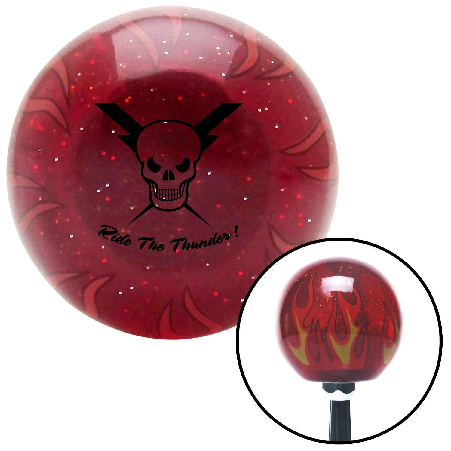 Black Skull 6 American Shifter 243393 Red Flame Metal Flake Shift Knob with M16 x 1.5 Insert