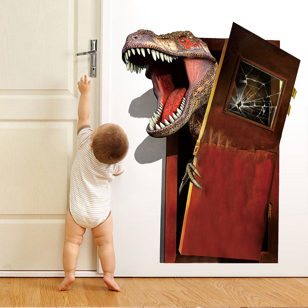 3D Dinosaurs Self-adhesive Removable Break Through the Wall Vinyl Wall Sticker Mural Art Decals Decorator (Tyrannosaurus rex)