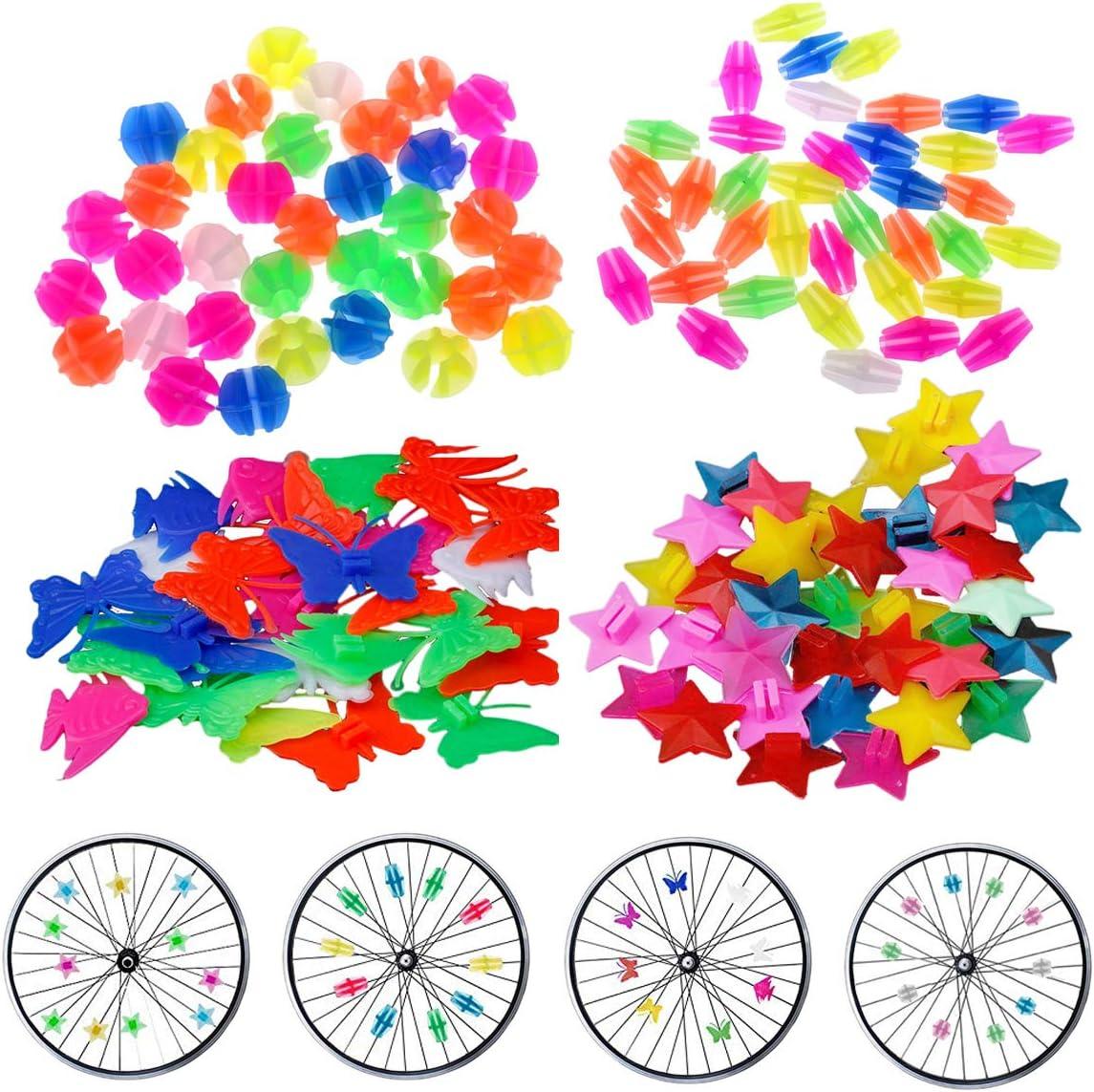 JAHEMU Bicicleta Decoración Perla Cuenta de Rueda de Bicicleta Bici Clip Bicycle spoke Beads Accesorio de Bicicleta para Infantil 133 Piezas