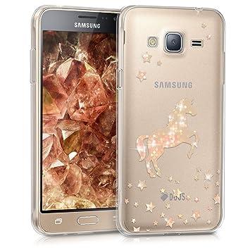 kwmobile Funda para Samsung Galaxy J3 (2016) DUOS - Carcasa Protectora de [TPU] con diseño de Unicornio Brillante en [Oro Rosa/Transparente]