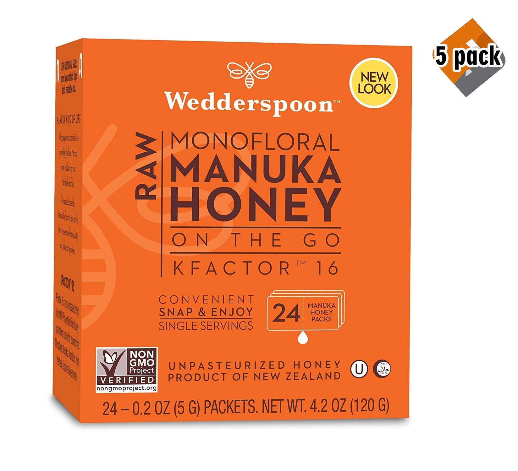 Wedderspoon On The Go Raw Premium Manuka Honey KFactor 16 Packets, 4.0 Oz (24 Count), Unpasteurized, Genuine New Zealand Honey, Multi-Functional, Non-GMO Superfood, 5 Pack
