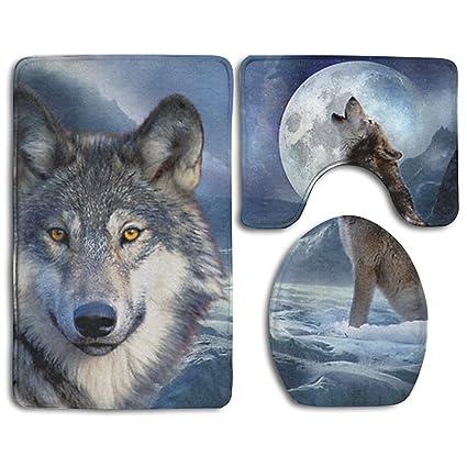 Amazon.com: Luna Lobo antideslizante alfombra de baño 3 ...