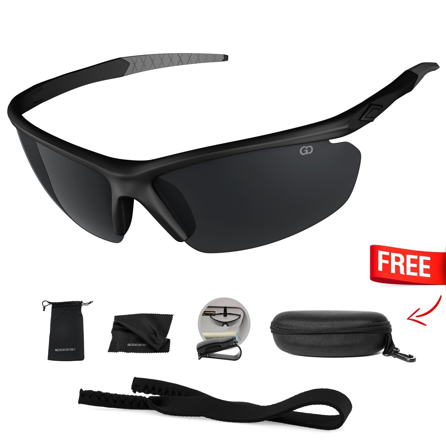 Polarized UV400 Sport Sunglasses Anti-Fog Ideal for Driving or Sports Activity (Black, Grey)