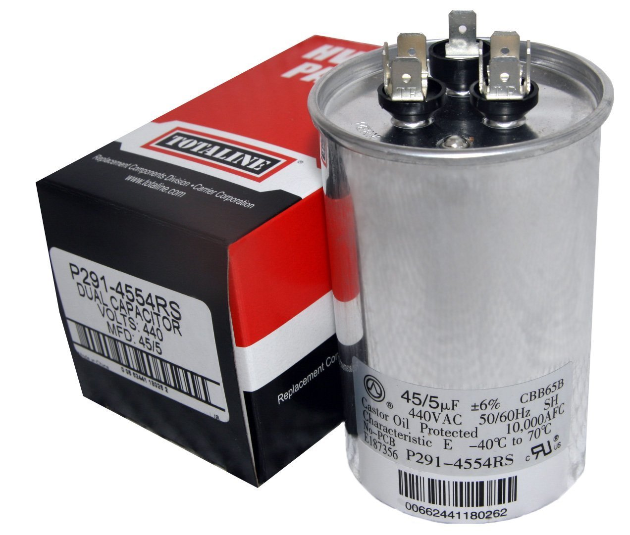 TOTALINE 45 + 5 MFD uf P291-4554RS 370 or 440 Volt Dual Run Round Capacitor made by Carrier for Condenser Straight Cool or Heat Pump Air Conditioner CBB65B