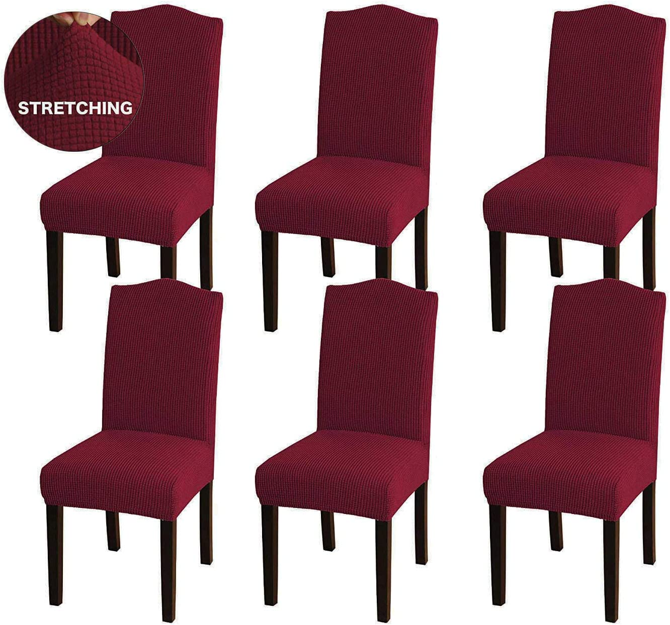 AWLAND Dining Chair Slipcovers Protector Removable Short Stretch Spandex Dining Room Banquet Chair Seat Cover for Kitchen Bar Hotel and Wedding Ceremony 4 Pack Red