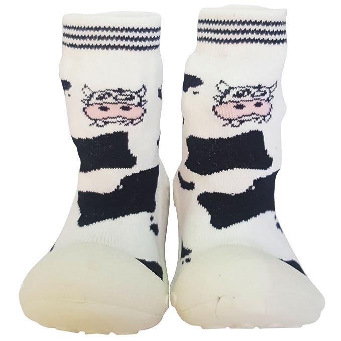 C2BB - Calcetines con suela antideslizante para niñas | Vaca - Talla: 24: Amazon.es: Ropa y accesorios
