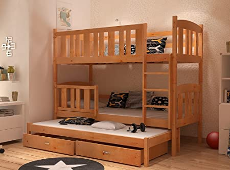 Wooden Bunk Bed Solid Pine Wood 3 Sleepers Storage Mattresses