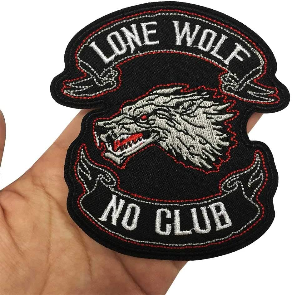 NO Club Iron On Embroidered Patch,2 Pieces Applique Sewing Label Punk Biker Patches Clothes Stickers Apparel Accessories Badge