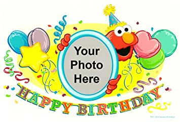 2quot Round Sesame Street Elmo Birthday Photo Frame Edible Image Cake