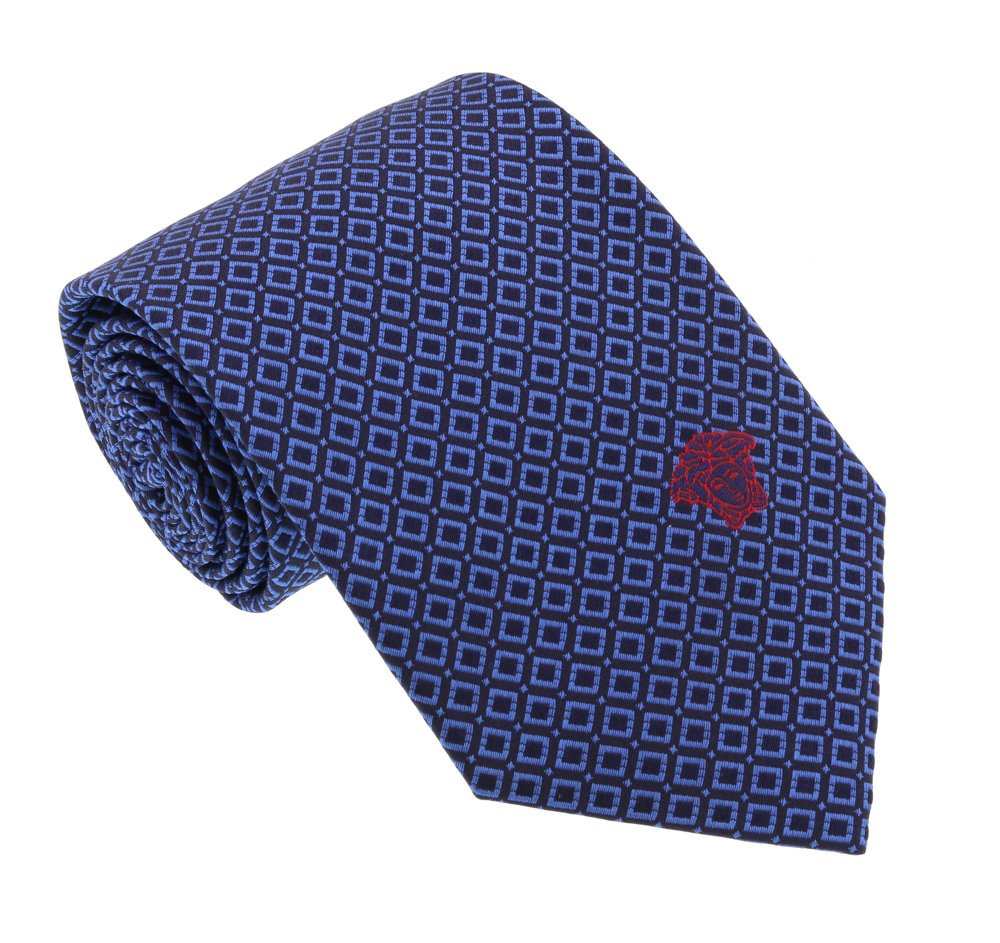 Versace Blue Woven Chain Grid Tie by V1969 by VERSACE