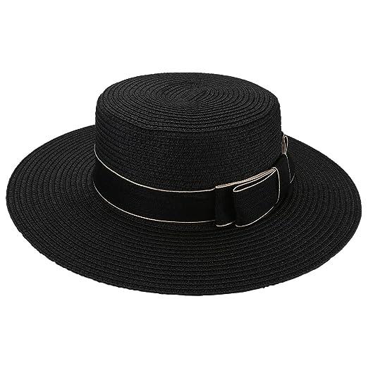 Ayliss Women Bowknot Straw Hat Summer Fedoras Boater Sun Hat at ... 9473b1c03ffa
