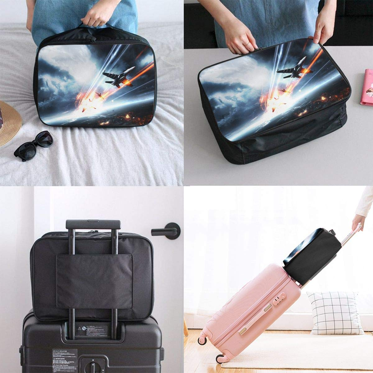 Travel Luggage Duffle Bag Lightweight Portable Handbag Dog Fight Pattern Large Capacity Waterproof Foldable Storage Tote