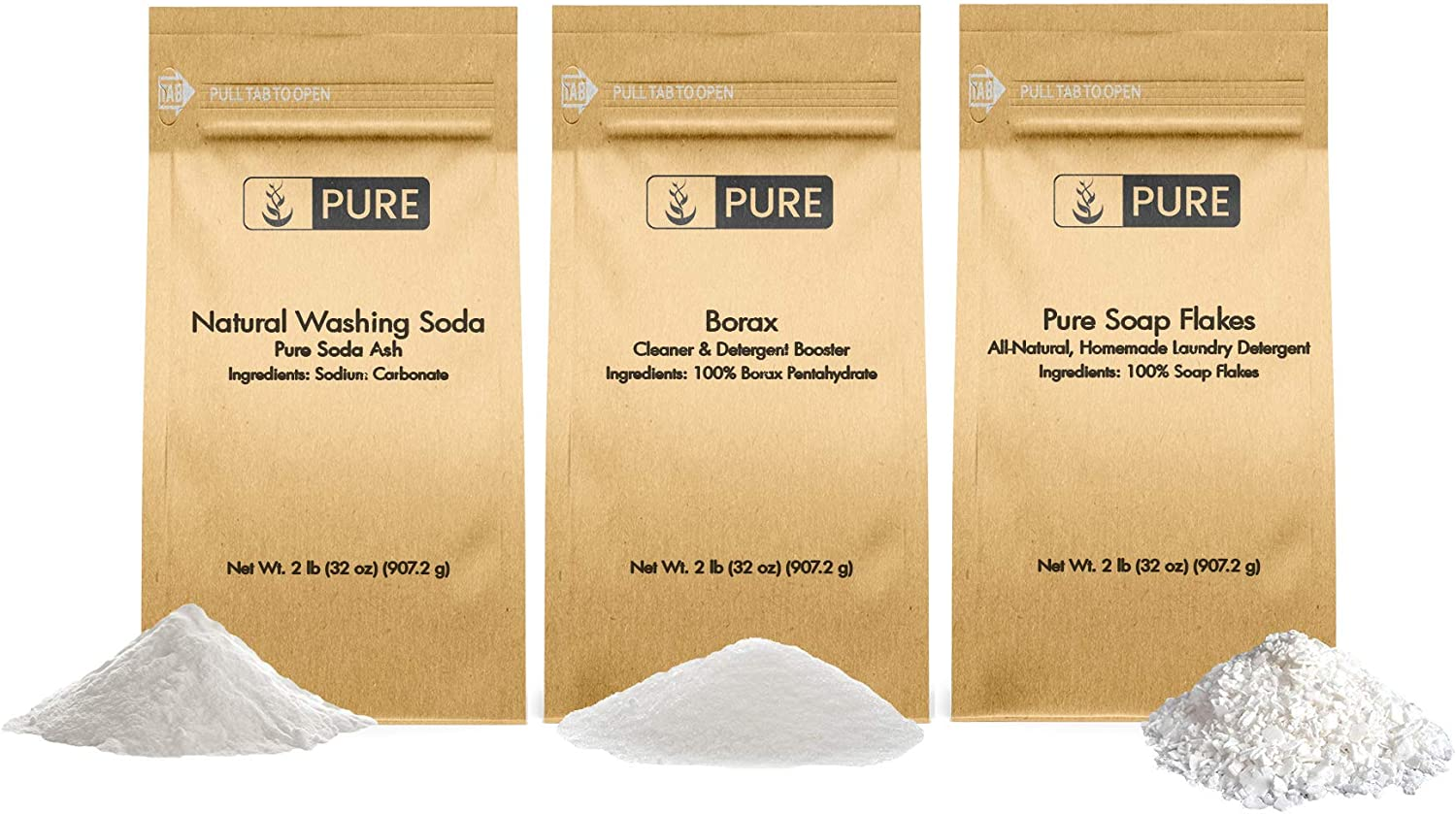 Laundry Soap Kit by Pure Organic Ingredients (2 lbs Each) Borax, Natural Washing Soda, Soap Flakes. Eco-Friendly Packaging, Multi-Purpose Cleaners & Detergent Boosters