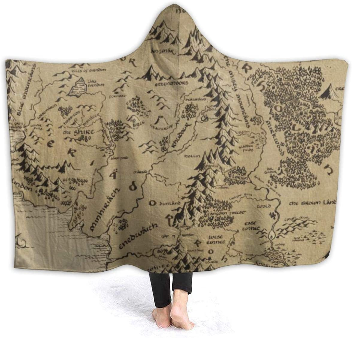 "Warm Hooded Blanket Middle Earth Map Comfortable Bed Chair Car Wrap Wearable Throw Fleece Blanket for Adult/Old/Child,fits Winter Summer Fall Spring,60"""" x50"