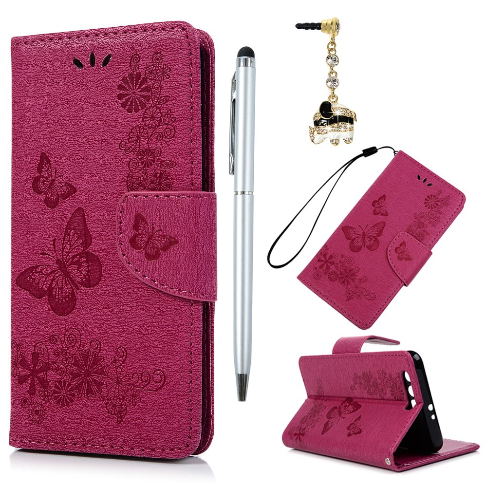 Huawei Honor 9 Case,Badalink Honor 9 Case Cover PU Leather Case Wallet Embossed Butterfly & Flower Folio Flip Case Soft TPU Magnetic Closure Cover Shockproof Bumper Cover with Card Slots & Wrist Strap for Huawei Honor 9 Case,Gray