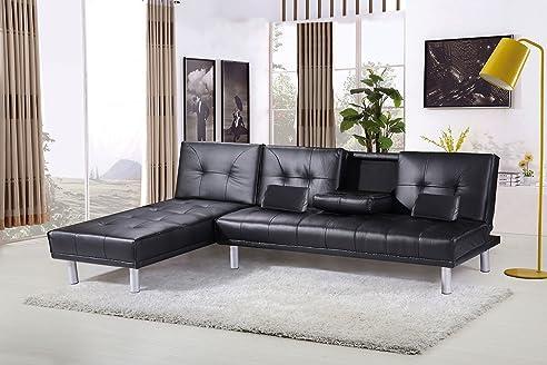 Modernes ecksofa  Manhattan Modernes Ecksofa, L-Form, Kunstleder, Sofa Couch Bett ...