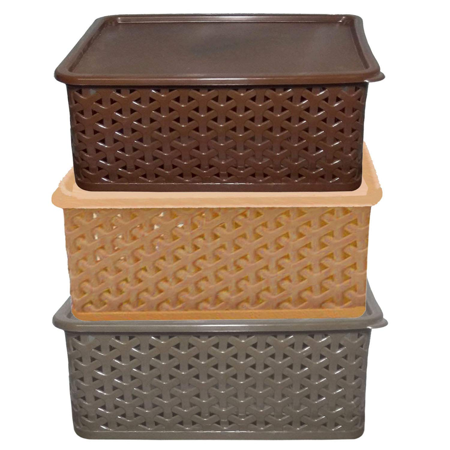 Kuber Industries Plastic 3 Pieces Big Size Multipurpose Solitaire Storage Basket with Lid (Multi) -CTLTC10908 (B07TWFVF2H) Amazon Price History, Amazon Price Tracker