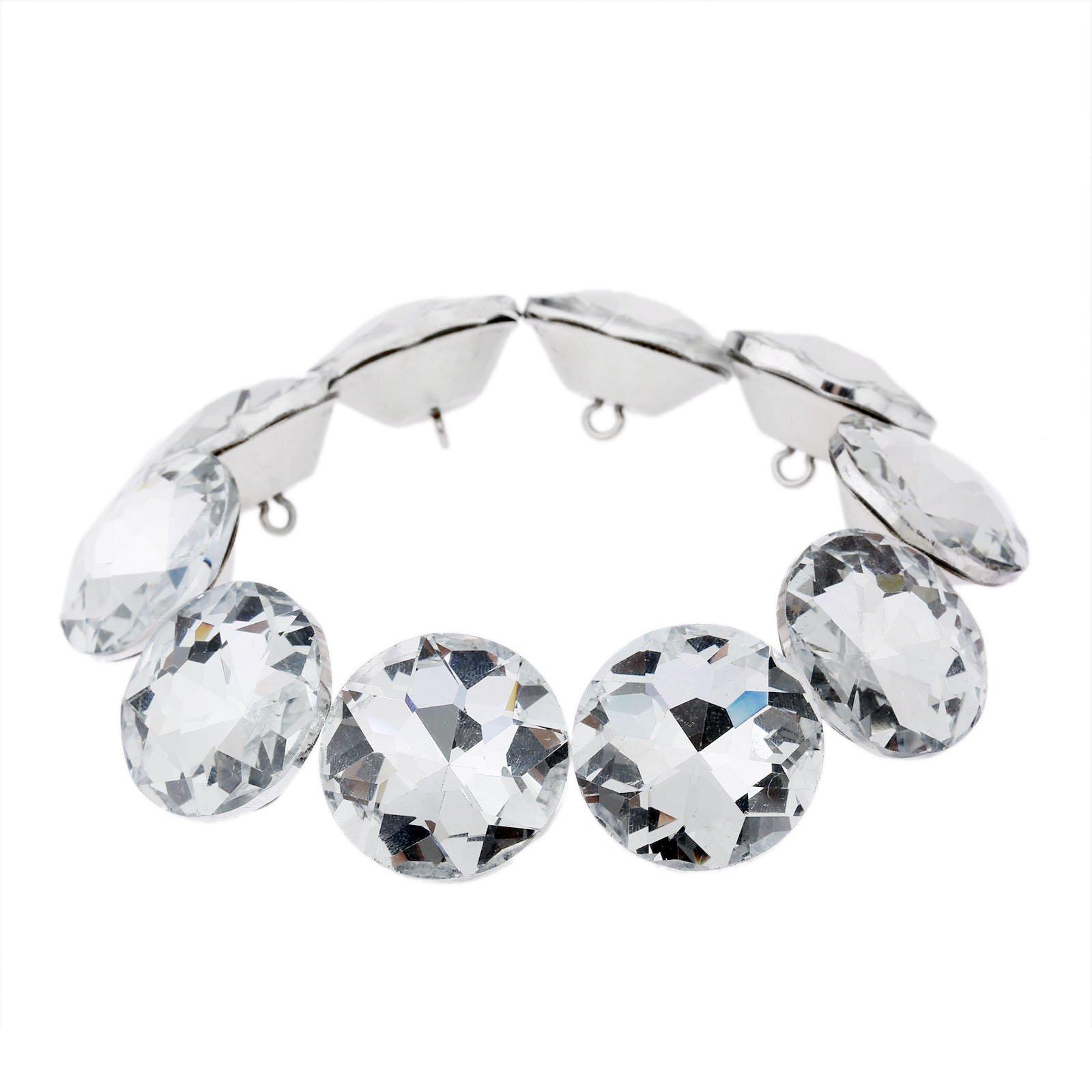 20pcs Diamond Crystal Upholstery Sofa Headboard Sew Buttons Wall Decor 30mm Dia