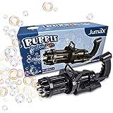 Jumax Bubble Gun, Gatling Bubble Machine 2021 for Kids, Electric Bubble Makers, Bubble Liquid Not Included, 3 AA Batteries In