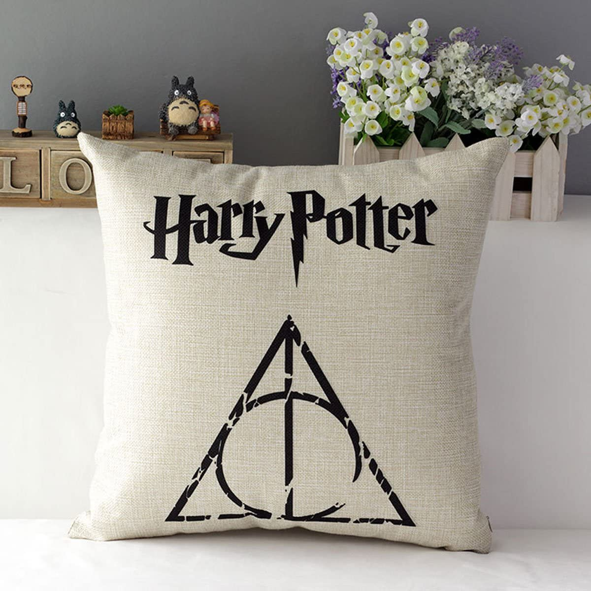 "TavasDecor 17"" Hogwarts Harry Potter Decorative Home Sofa Throw Pillow Case Cushion Cover - The Deathly Hallows"