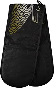 "ZZXXB Golden Rooster Double Oven Mitt Heat Resistant Non-Slip Kitchen Gloves Extra Long 7"" x 35"" for Cooking Baking Barbecue Grilling"