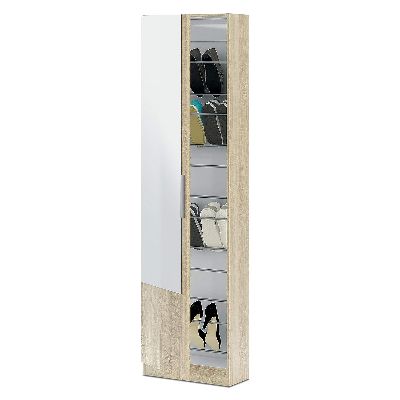 180x50x20 cm de Fondo Habitdesign 007866BO Zapatero con Espejo madera color Blanco Brillo