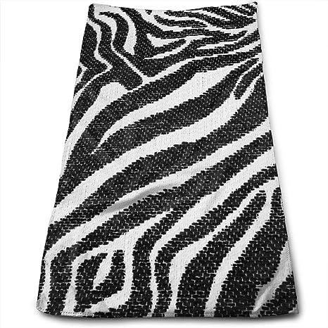 Face Hand Towel Snow Zebra Print Black White Stripes Bath Towel