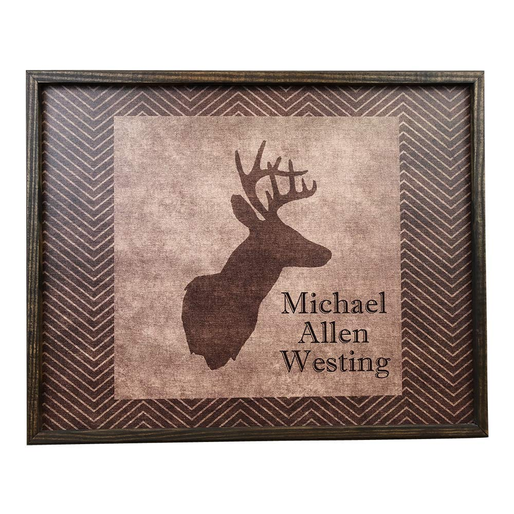 Personalized Framed Deer Head Canvas Print