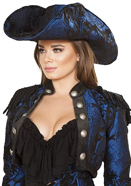 Women's Mary Read Blue & Black Brocade Pirate Hat by Musotica