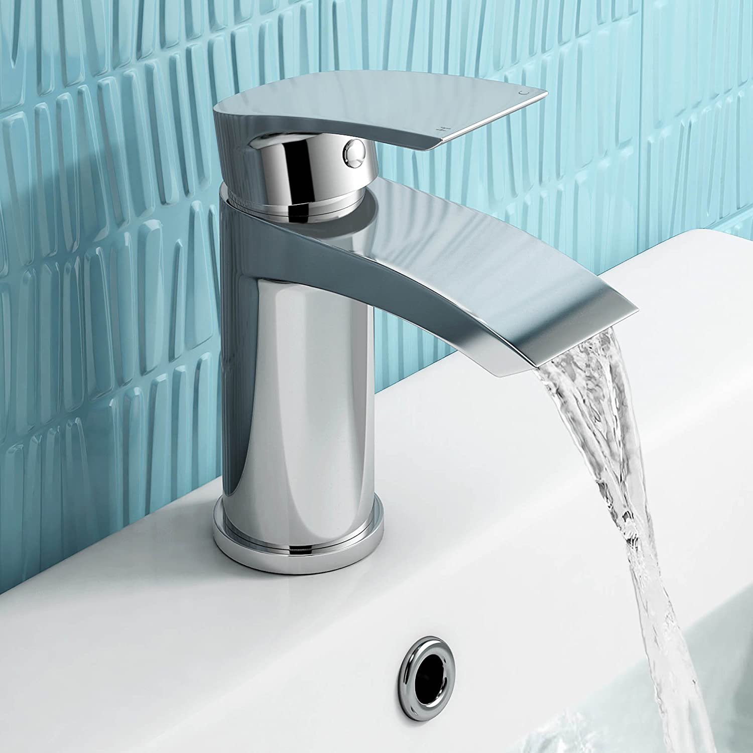 iBathUK Chrome Basin Sink Mixer Tap Modern Bathroom Lever Faucet ...