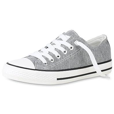 SCARPE VITA Damen Sneaker Slip Ons Leder-Optik Turnschuhe Glitzer Slippers 159292 Grau 46 6mdz1MMcA