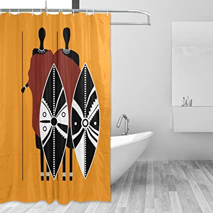 Amazon com: ALAZA African Art Home Decor Shower Curtain Set By
