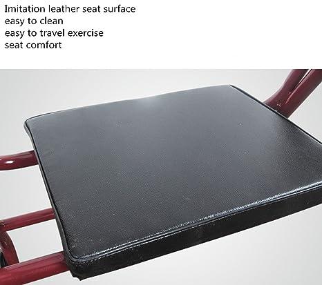 Andador de acero inoxidable rojo Walker plegable con ruedas (2 ...