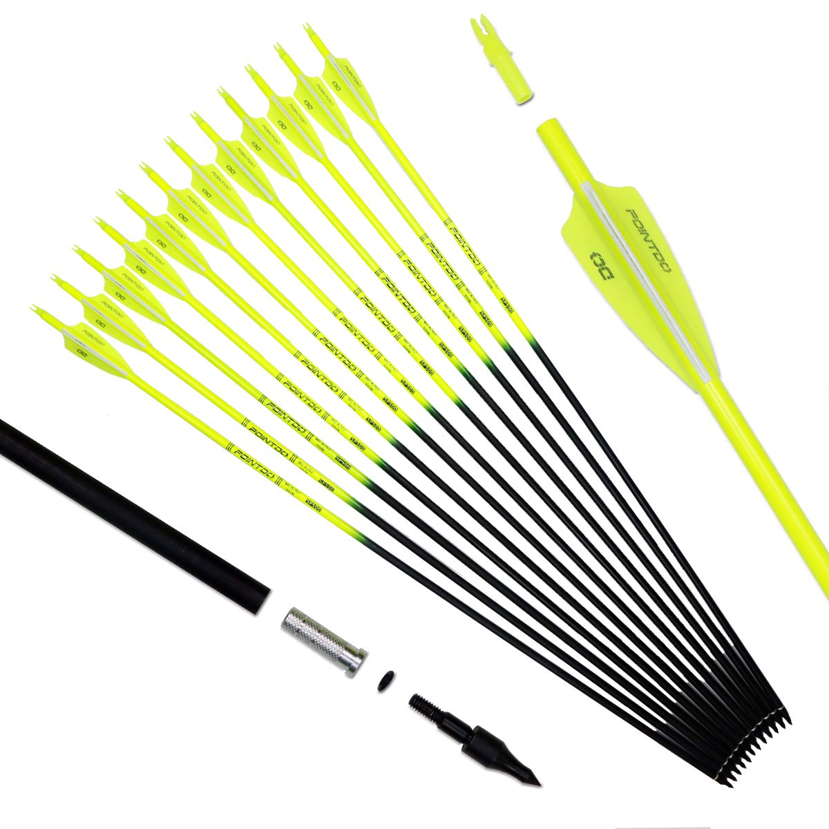 Pointdo 30inch Carbon Arrow Fluorescence Color Targeting and Hunting Practice Arrows for Compound Bow and Recurve Bow with Removable Tips (Fluorescein Yellow)
