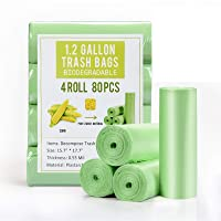 1.2 Gallon Small Garbage Bags Biodegradable 5 Liter Mini Compostable Strong Bathroom Trash Bags with Tear & Leak…