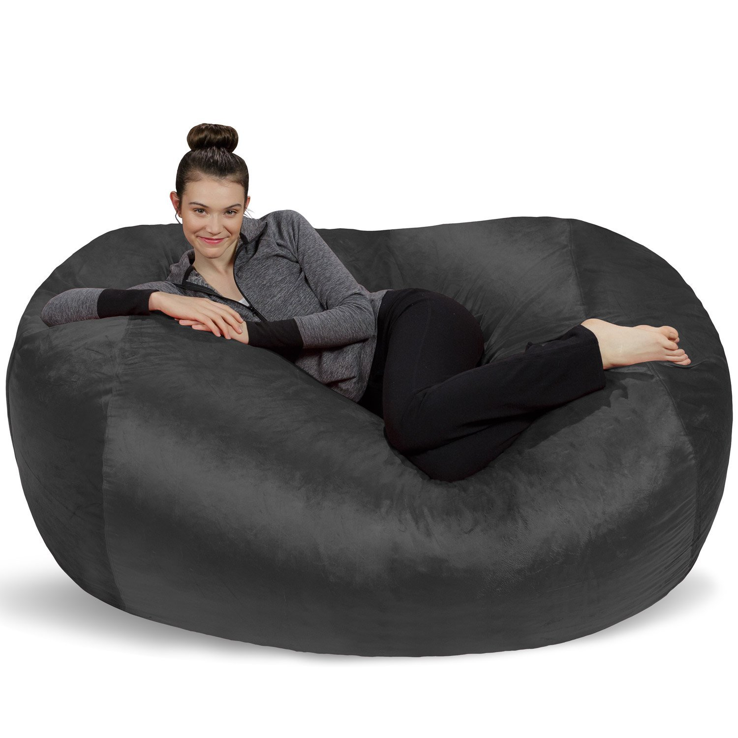 Charcoal Sofa Sack - Plush Bean Bag Sofas with Super Soft Microsuede Cover - XL Memory Foam Stuffed Lounger Chairs for Kids, Adults, Couples - Jumbo Bean Bag Chair Furniture - Chocolate 6'