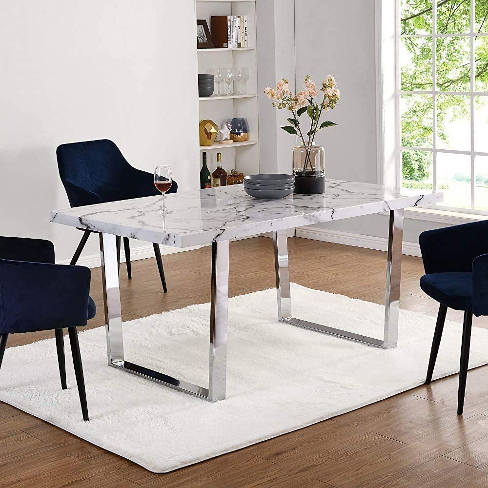 Gweat Table /à Manger en marbre White Table /à Manger et Salon /à la Maison