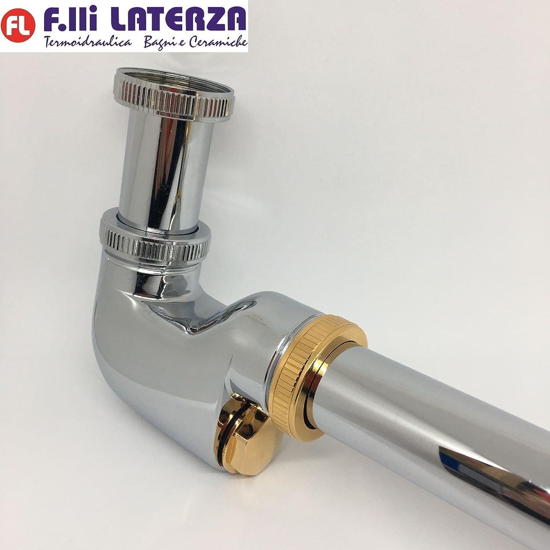 'F. LLI Frattini Siphon außerhalb Spalte für Waschtisch und Bidet 1 1 4 Metall Chrom Gold