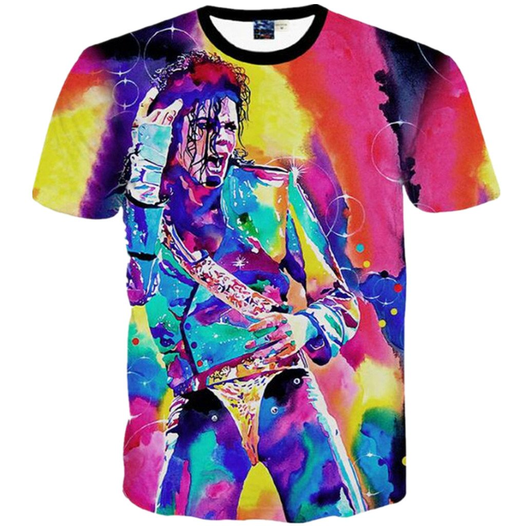 56c90483 Amazon.com: Young Men and Big Boys Fashion 3D T-Shirt Michael Jackson  Printed Tops: Clothing