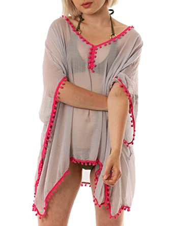 8b74b866c4 Style Slice Womens Summer Beach Swimwear Swimsuit Bikini Loose Breezy Cover  Up Neon Pom Pom Trim Sarong Pareo Kaftan Wrap Shawl (Grey/Fuchsia): ...
