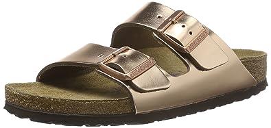 ead852f85e39b Birkenstock Arizona Metallic Silver Soft Footbed Two Buckle Strap Sandal