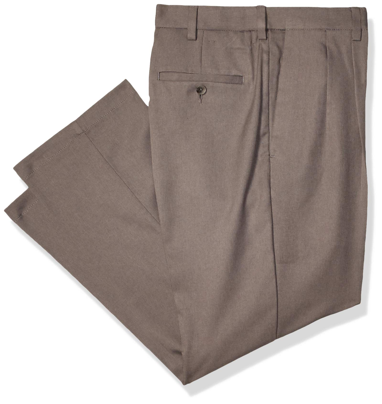 Haggar Men's Cool 18 Pro Classic Fit Pleat Front Expandable Waist Pant, Heather Grey, 34Wx28L